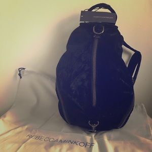 NWT Rebecca Minkoff M Julian Backpack black velvet